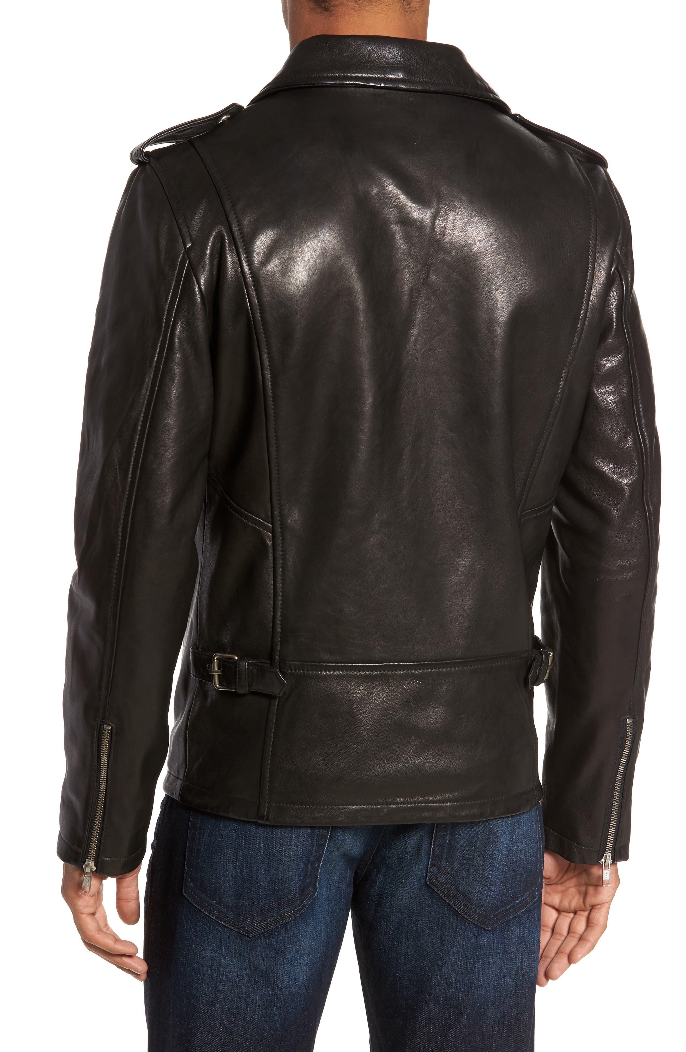 ,                             Leather Biker Jacket,                             Alternate thumbnail 2, color,                             BLACK