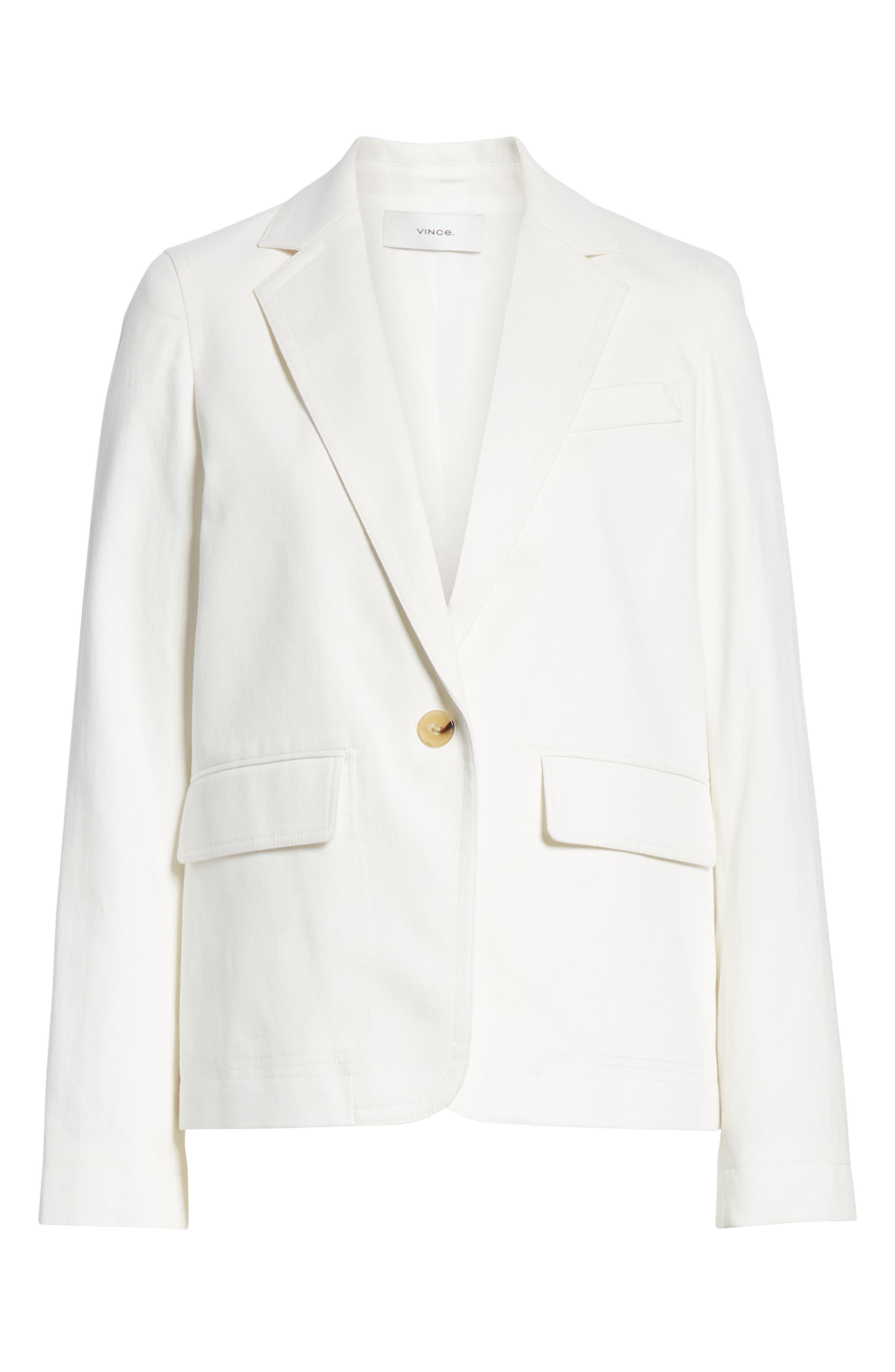 ,                             Cotton & Linen Blend Jacket,                             Alternate thumbnail 7, color,                             OFF WHITE