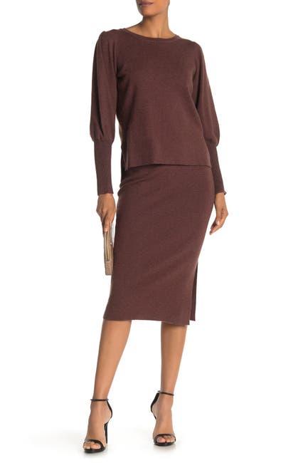 Image of Bobeau Side Vent Solid Midi Skirt