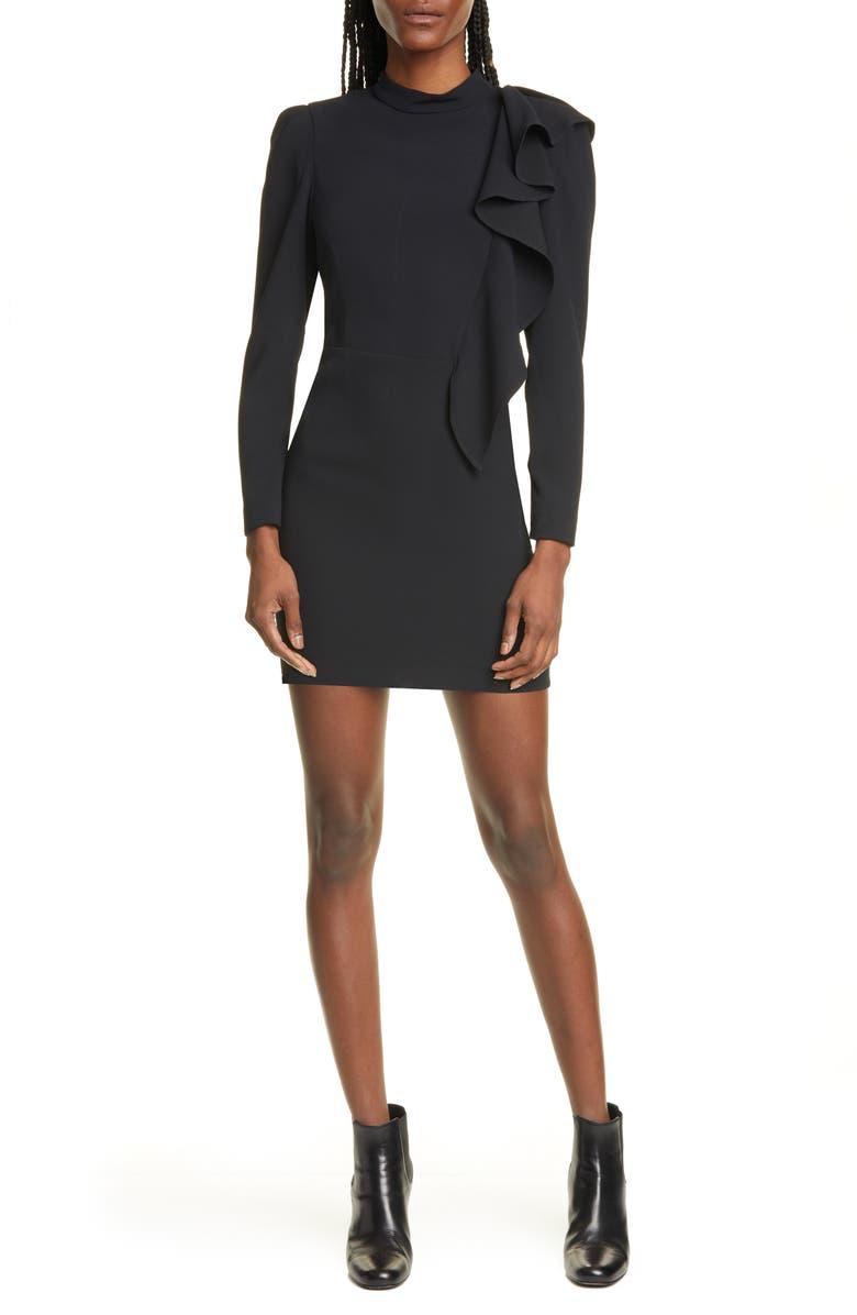 IRO Deteo Ruffle Long Sleeve Minidress, Main, color, BLACK