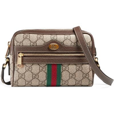 Gucci Ophidia Small Gg Supreme Canvas Crossbody Bag - Beige