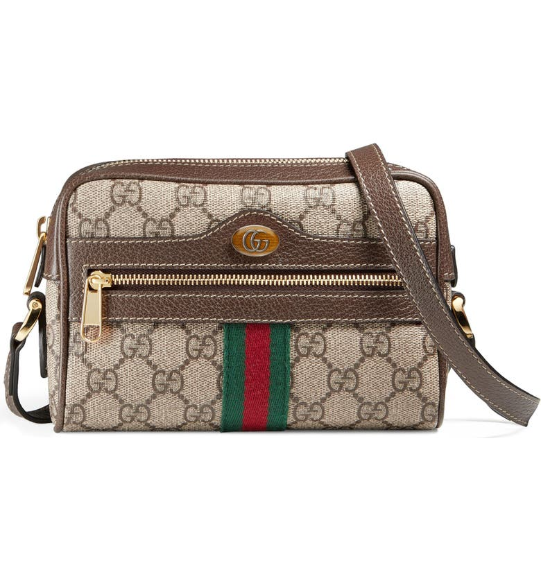 GUCCI SmallCanvas Crossbody Bag, Main, color, BEIGE EBONY/ ACERO/ VERT RED