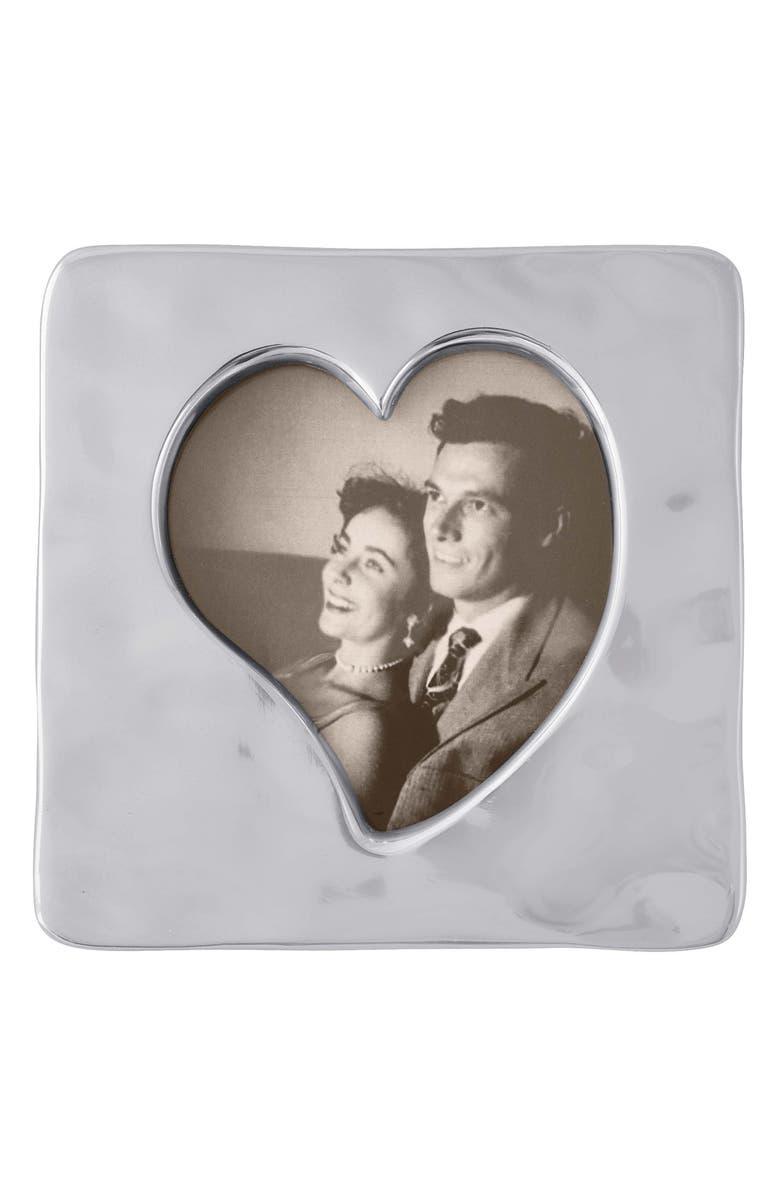MARIPOSA Heart Small Square Picture Frame, Main, color, SILVER
