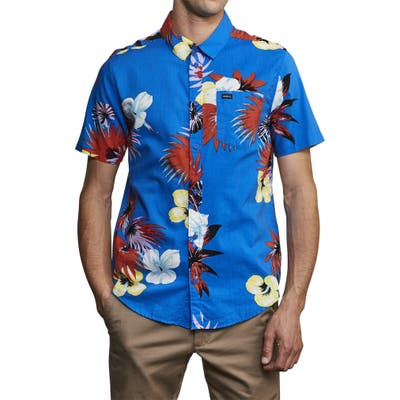 Rvca Romeo Slim Fit Floral Print Shirt, Blue