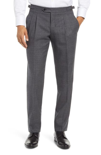 Image of Ted Baker London Roy Extra Trim Fit Pleated Wool Trousers
