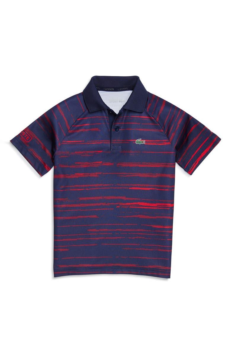 LACOSTE Novak Djokovic Stripe Polo, Main, color, NAVY BLUE/ MEDOC/ TOKYO RED