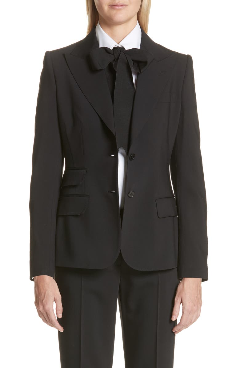 DOLCE&GABBANA Two Button Stretch Wool Jacket, Main, color, BLACK