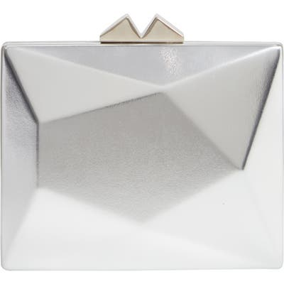 Nina Geometric Faux Leather Minaudiere - Metallic