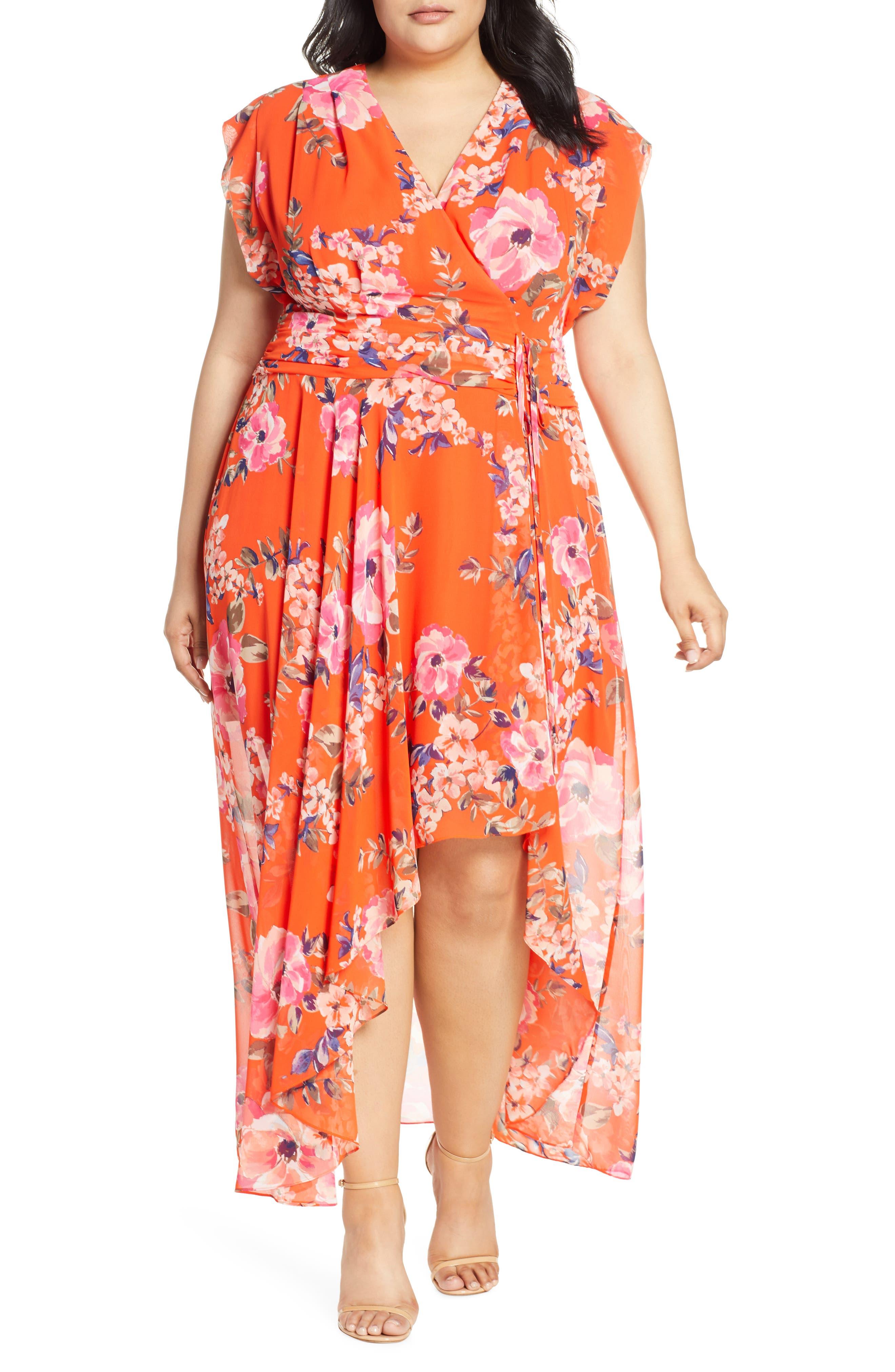 Plus Size Eliza J Floral Print Chiffon High/low Dress, Orange