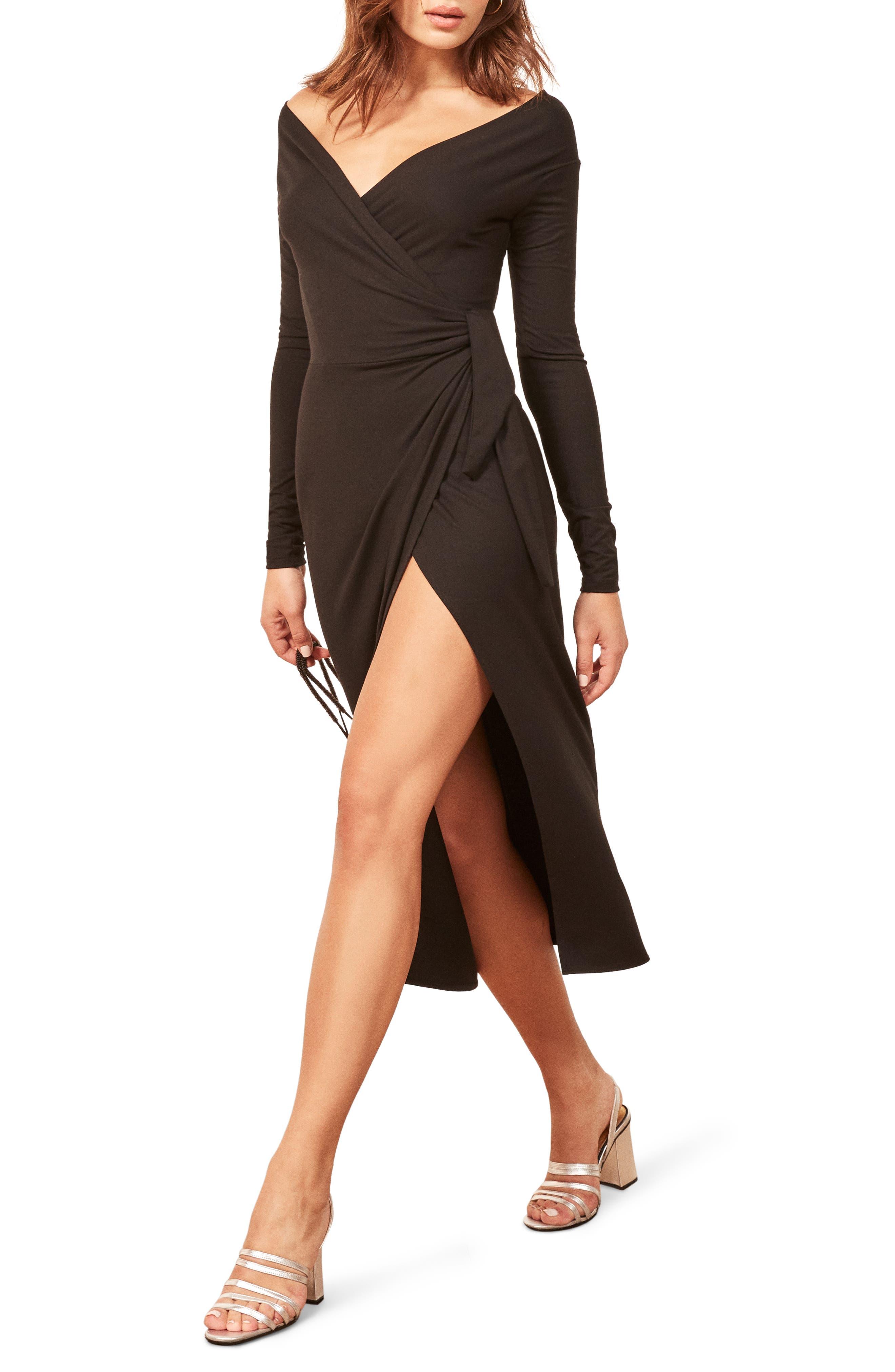 Reformation Dama Dress, Black