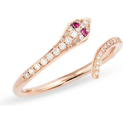 Ef Collection Diamond & Ruby Snake Ring
