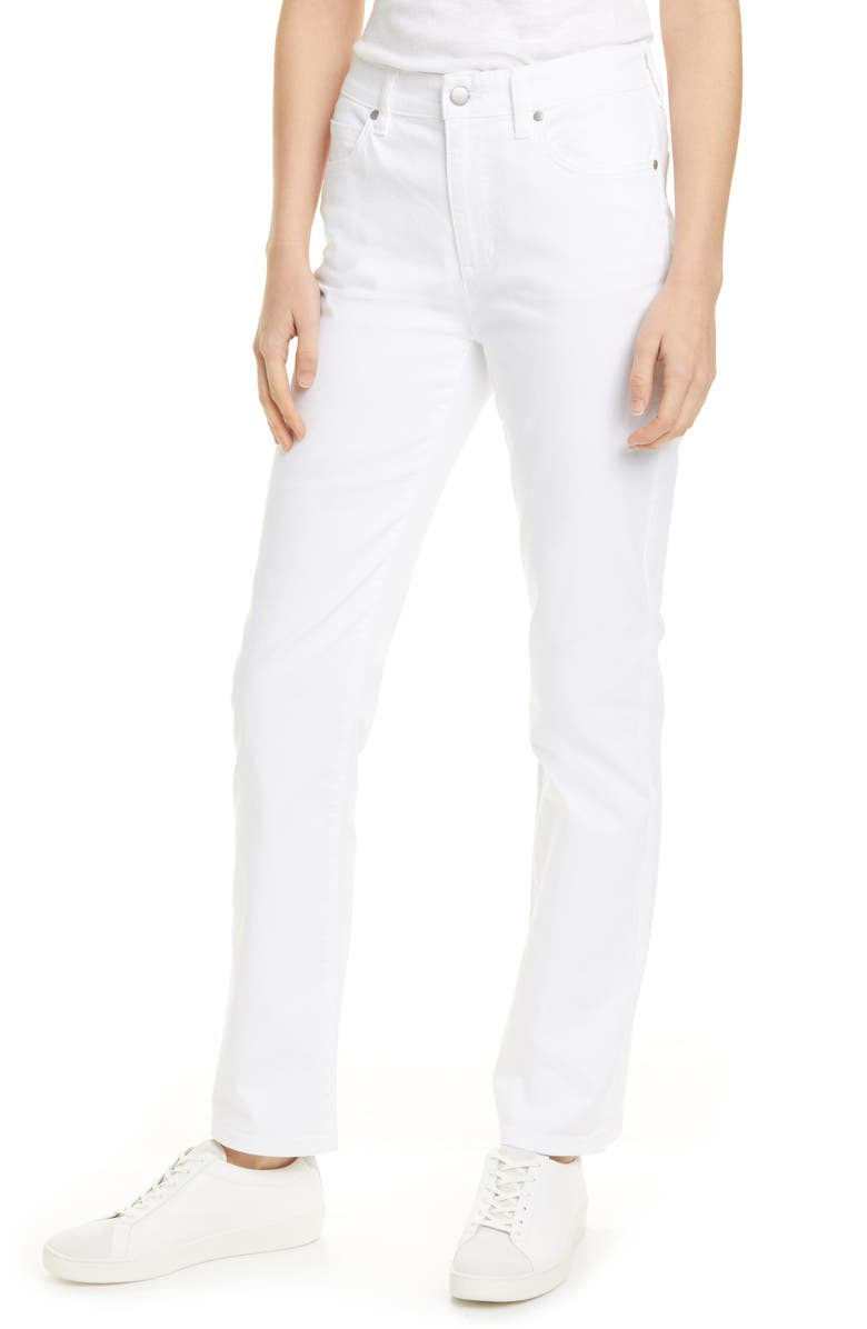 EILEEN FISHER High Waist Organic Cotton Jeans, Main, color, WHITE