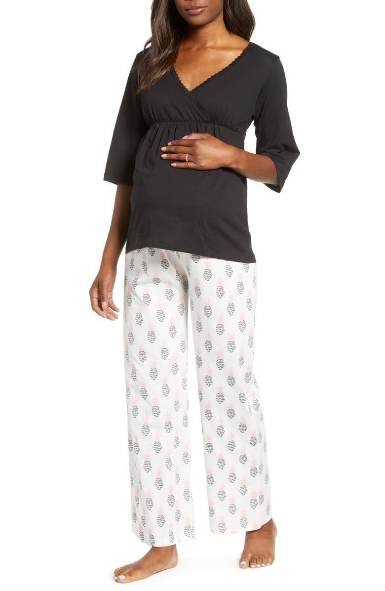 BELABUMBUM Maternity/Nursing Pajamas, Main, color, PINEAPPLE PRINT