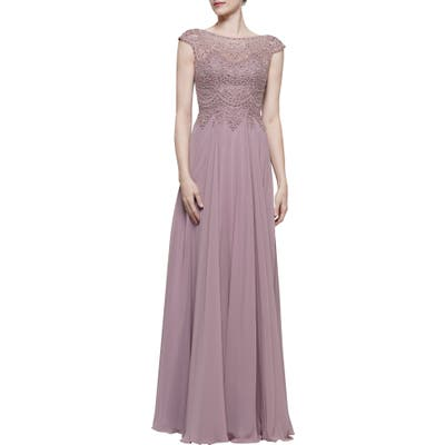 Marsoni Scalloped Lace & Chiffon A-Line Gown, 2 (similar to 20W) - Pink