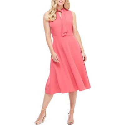 Maggy London Ruthie Tie Neck Crepe Dress, Pink
