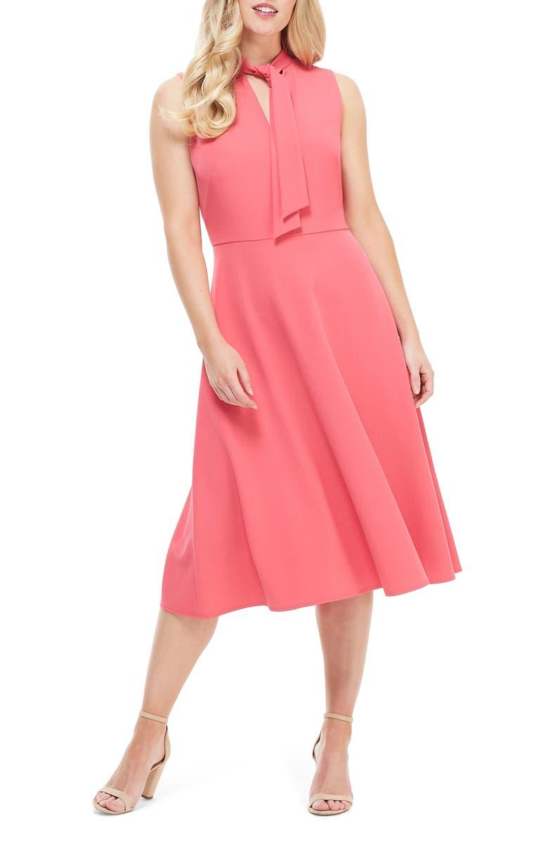 MAGGY LONDON Ruthie Tie Neck Crepe Dress, Main, color, SUGAR PINK