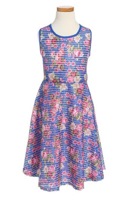 Image of Pippa & Julie Blue Floral Skate Dress