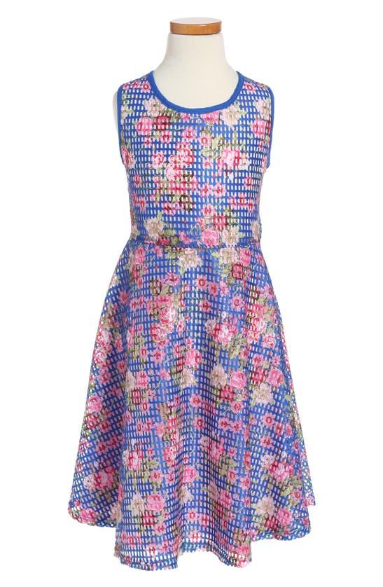 Pippa & Julie Kids' Blue Floral Skate Dress