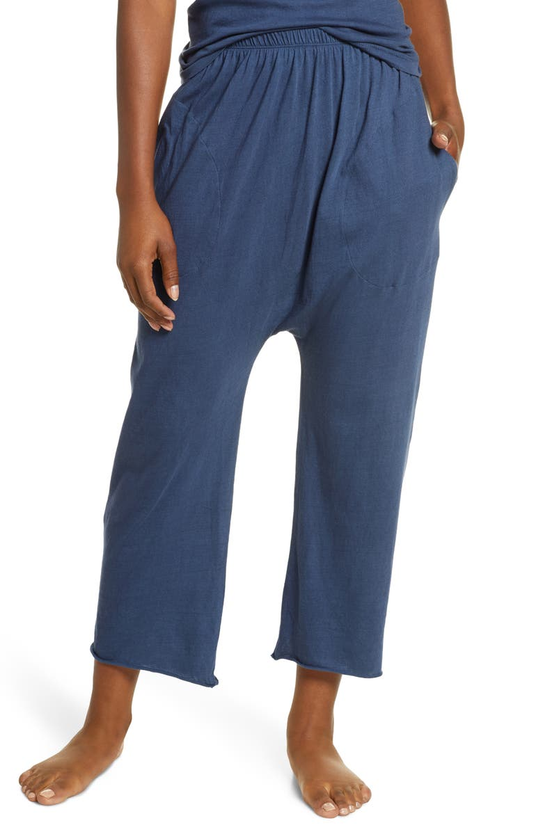 THE GREAT. The Lounge Cotton Crop Pants, Main, color, NIGHT SKY