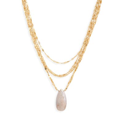 Serefina Moonstone Pendant Multi-Chain Necklace