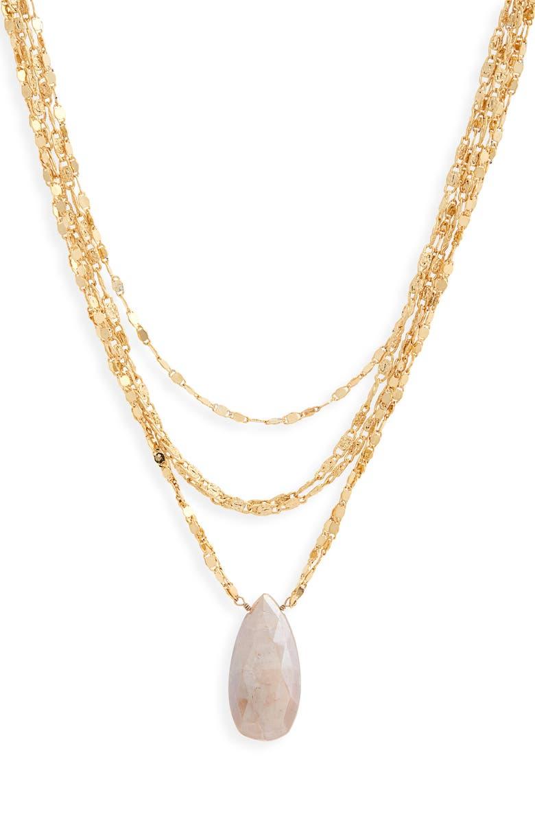 SEREFINA Moonstone Pendant Multi-Chain Necklace, Main, color, 710
