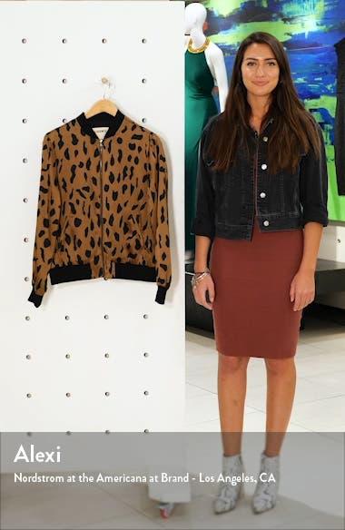 Ollie Cheetah Print Silk Bomber Jacket, sales video thumbnail