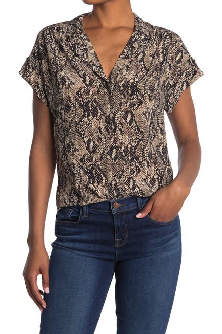Image of VERONICA BEARD Merci Python Print Silk Blouse