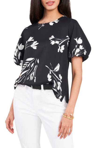 Vince Camuto FLORAL WHISPERS PUFF SLEEVE CREPE DE CHINE BLOUSE