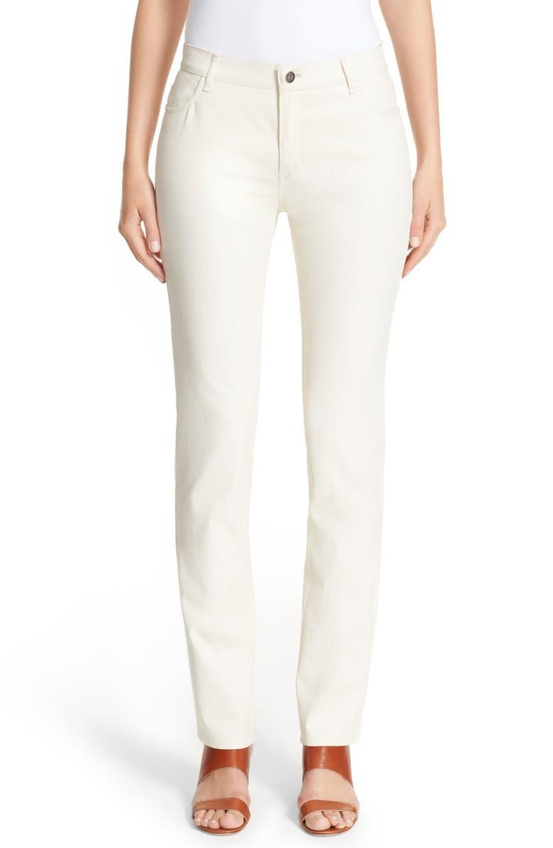 LAFAYETTE 148 NEW YORK Waxed Denim Slim Leg Jeans, Main, color, ECRU