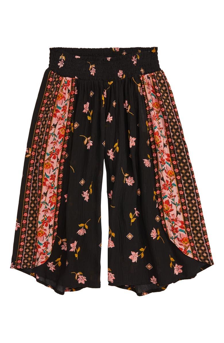 BILLABONG Wander To Crop Split Wide Leg Pants, Main, color, BLACK