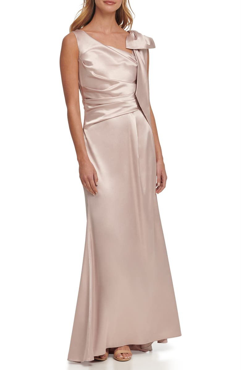 ELIZA J Pleated Sleeveless Satin Gown, Main, color, CHAMPAGNE