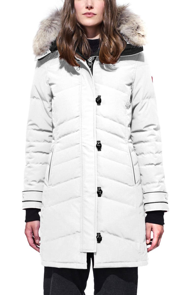 CANADA GOOSE Lorette Hooded Down Parka with Genuine Coyote Fur Trim, Main, color, NORTHSTAR WHITE
