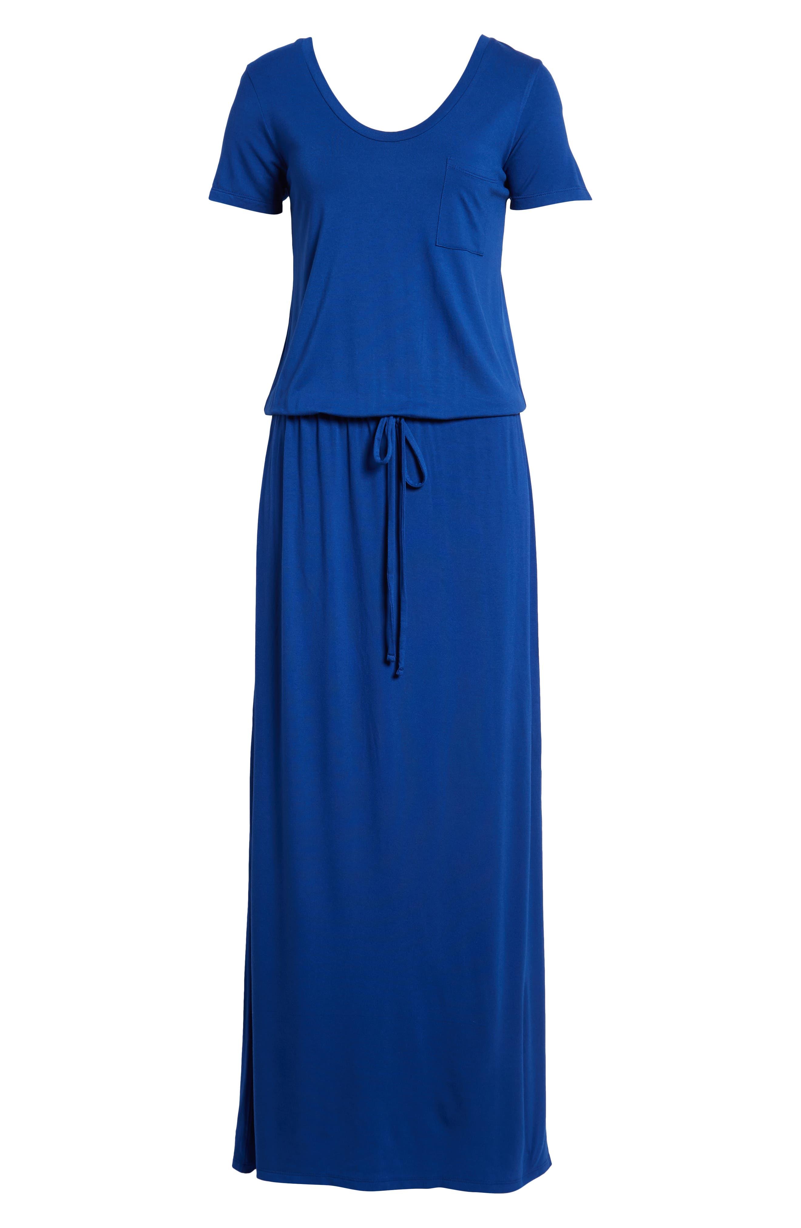 ,                             Drawstring Jersey Maxi Dress,                             Alternate thumbnail 7, color,                             BLUE MAZARINE