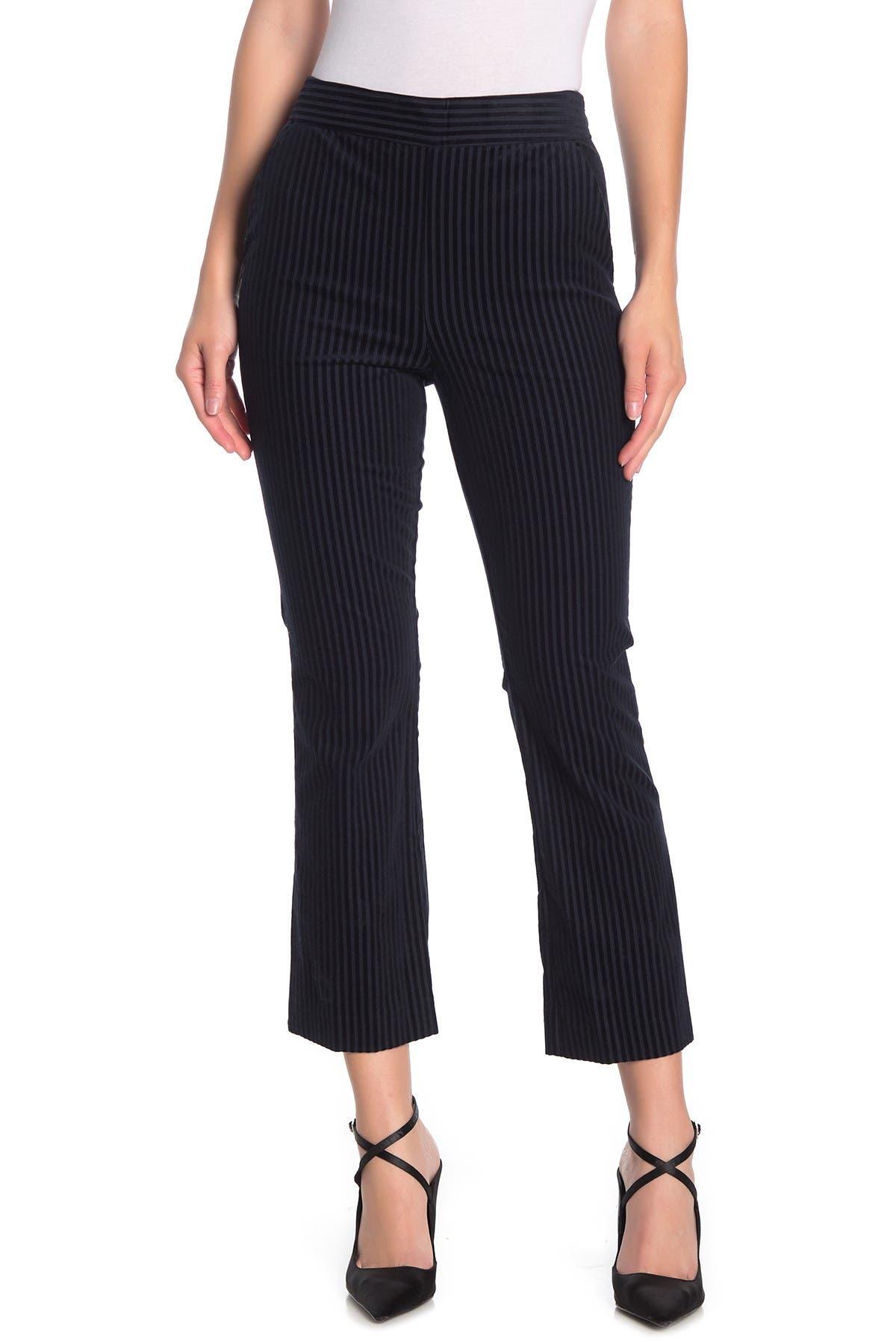 Image of FRAME Striped Crop Flared Velvet Pants