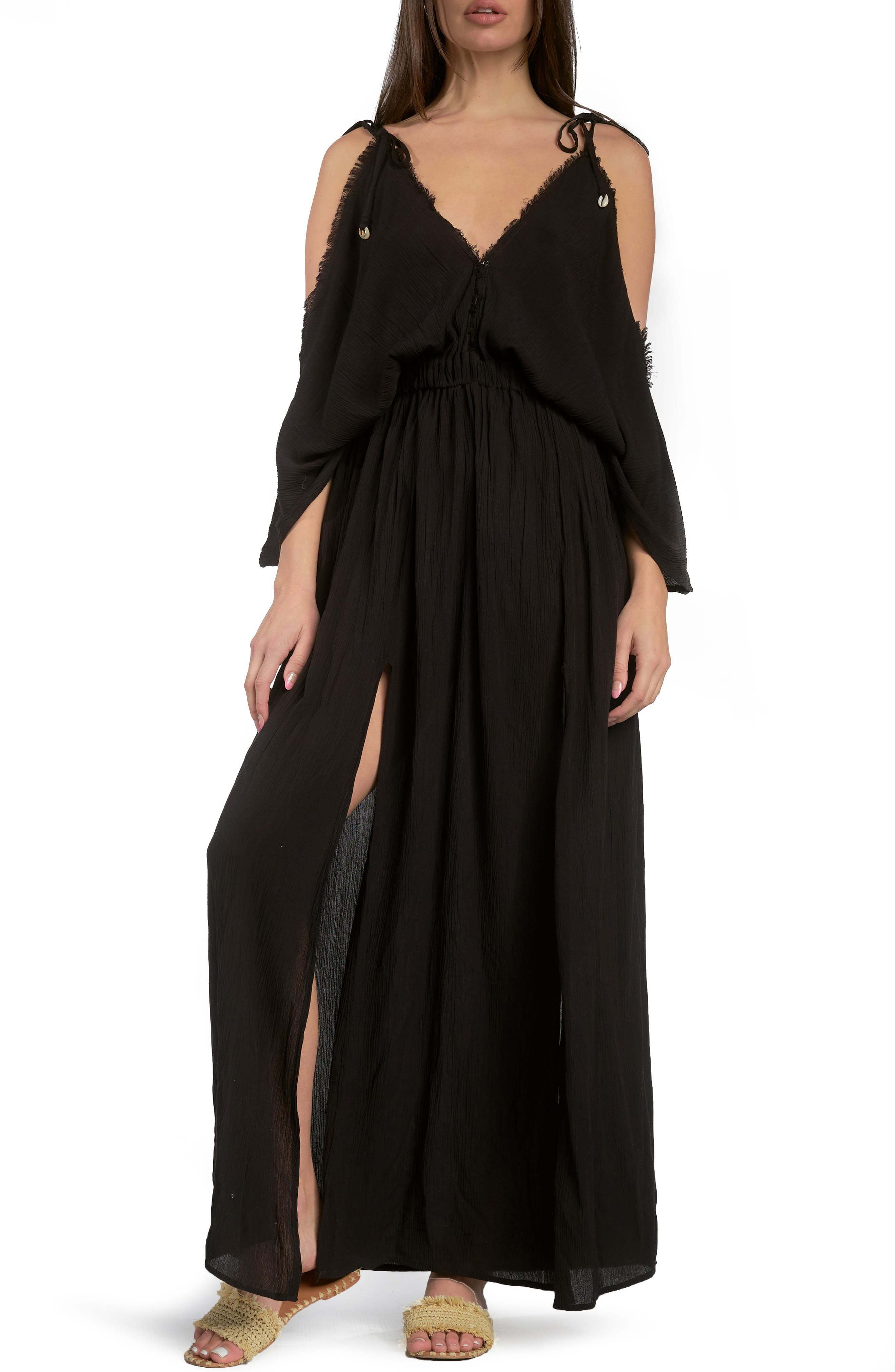 Butterfly Crinkle Cover-Up Maxi Dress