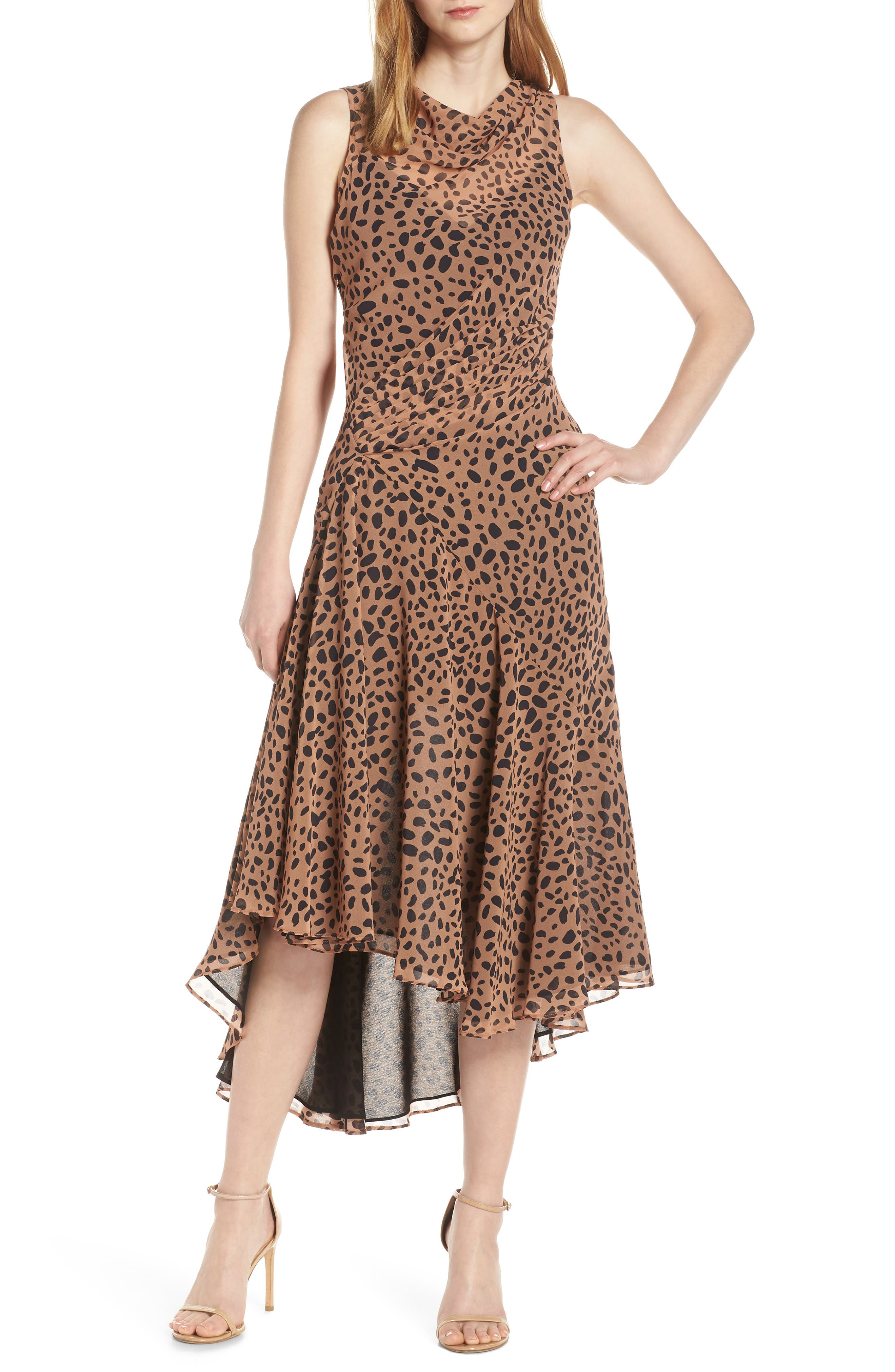 Fame And Partners Animal Print Asymmetrical Cocktail Dress, Brown
