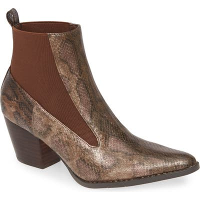 Coconuts By Matisse Kyoto Snake Print Chelsea Bootie- Brown