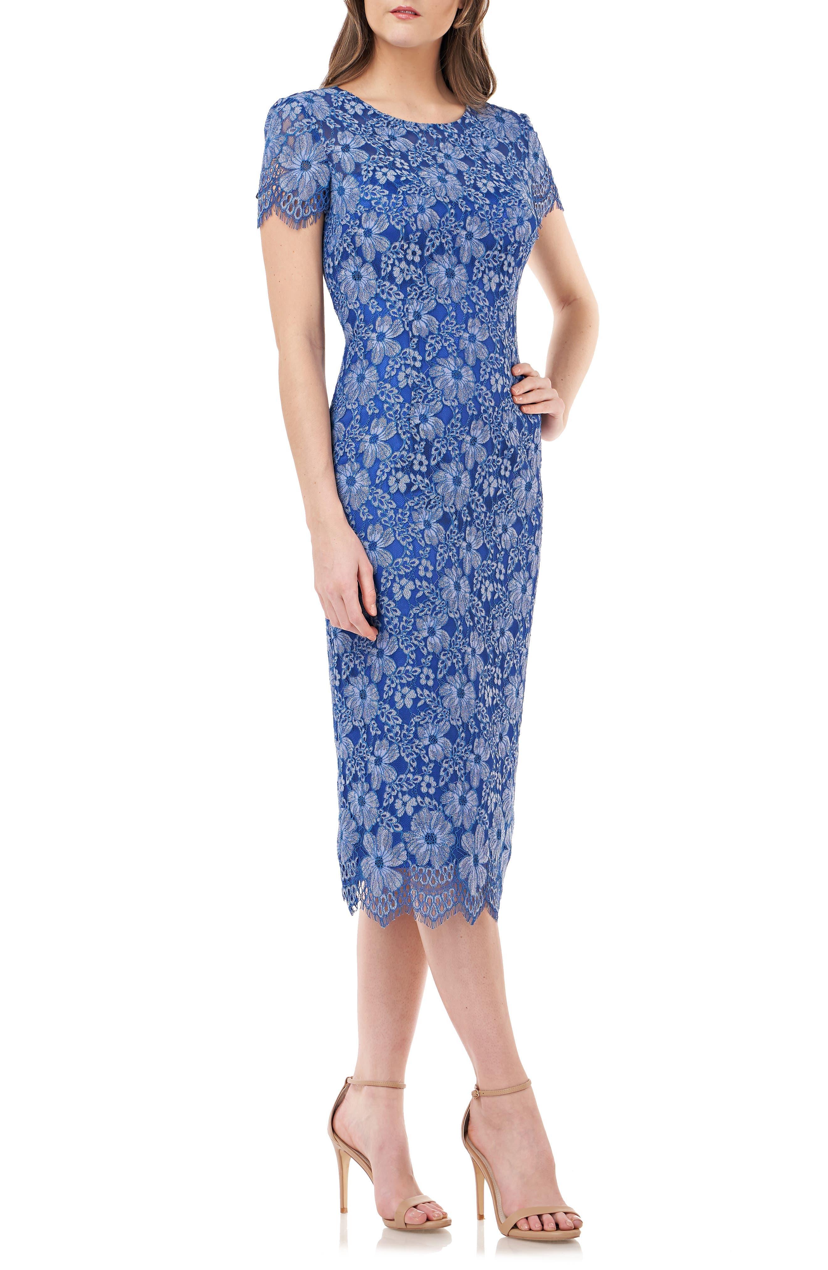 Js Collections Floral Lace Cocktail Dress, Blue