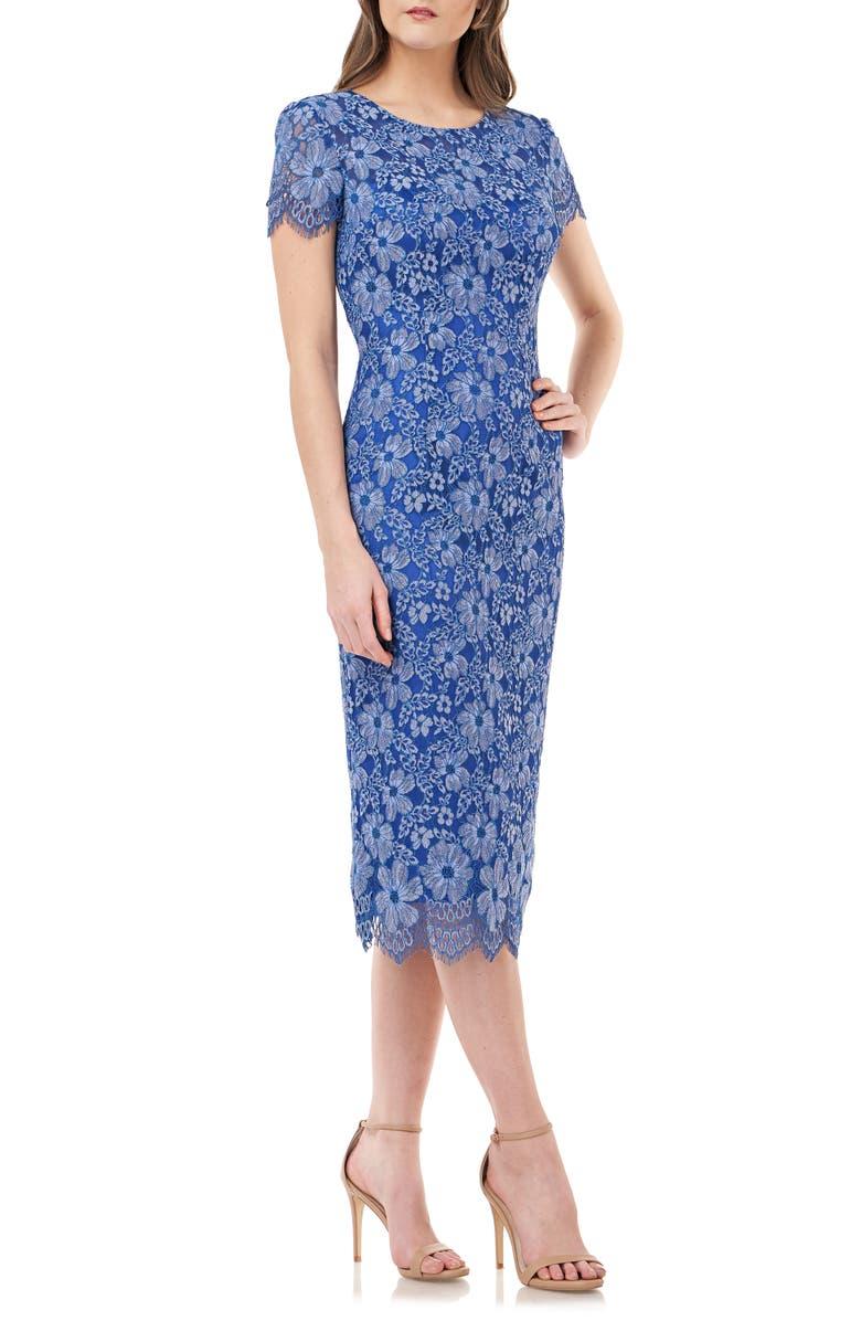 JS COLLECTIONS Floral Lace Cocktail Dress, Main, color, BLUE MULTI