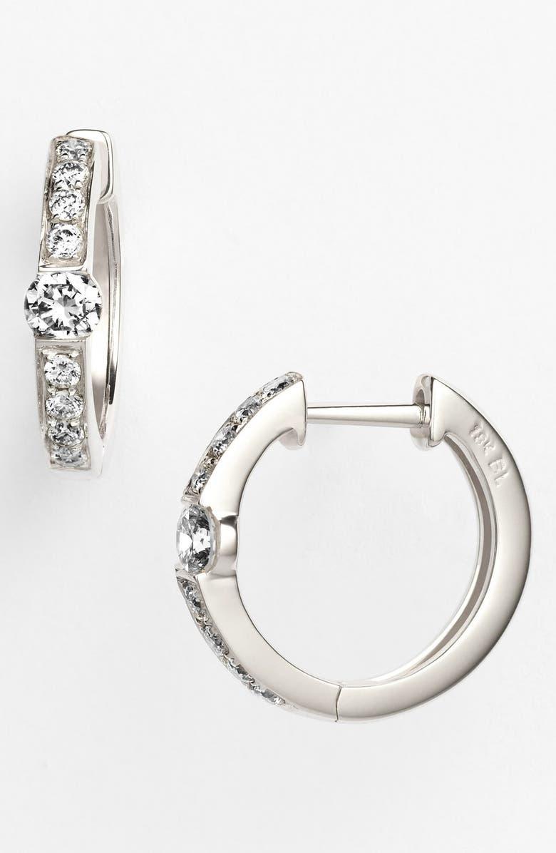 BONY LEVY Linea Diamond Huggie Earrings, Main, color, WHITE GOLD