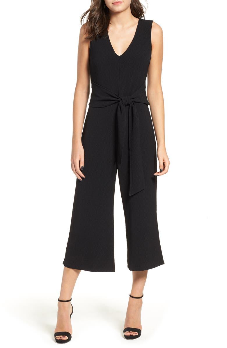 ASTR THE LABEL Tie Waist Crop Jumpsuit, Main, color, BLACK