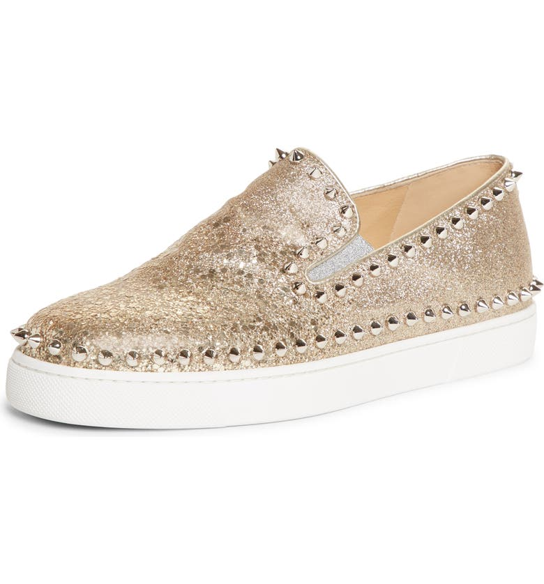 CHRISTIAN LOUBOUTIN Pik Boat Studded Slip-On Sneaker, Main, color, PLATINE GLITTER