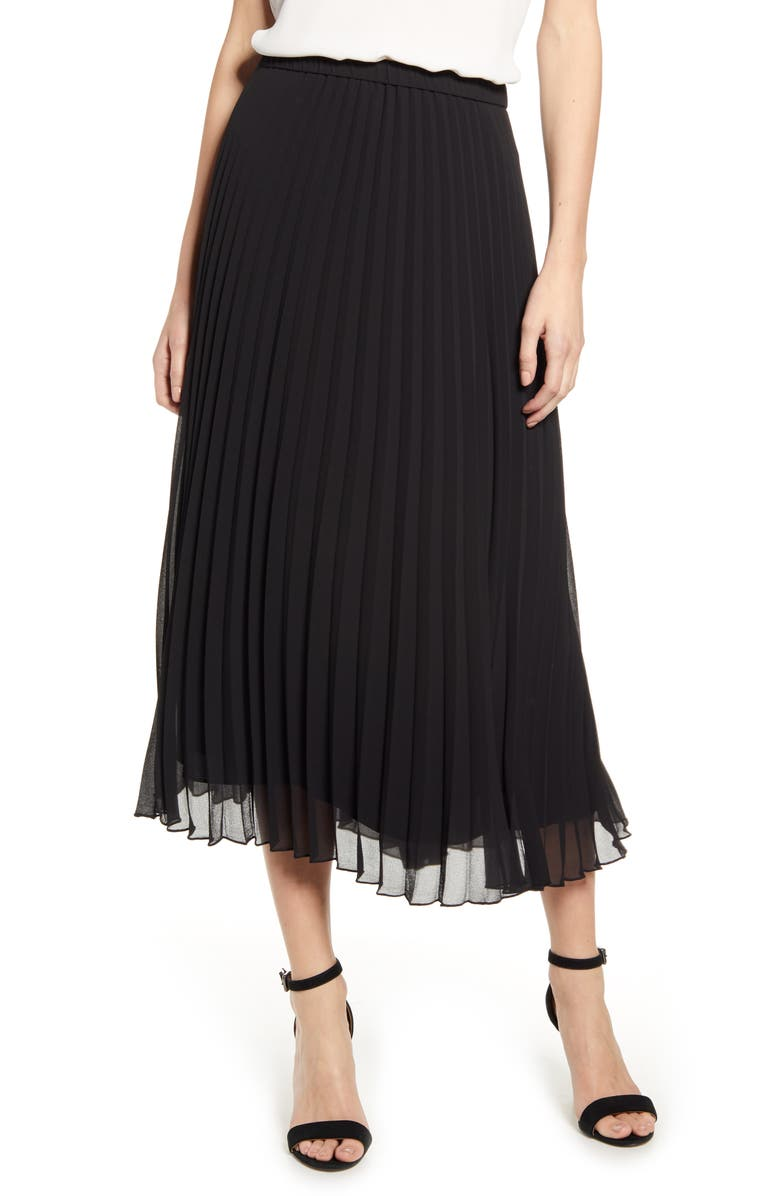 ANNE KLEIN Pleated Georgette Midi Skirt, Main, color, ANNE BLACK