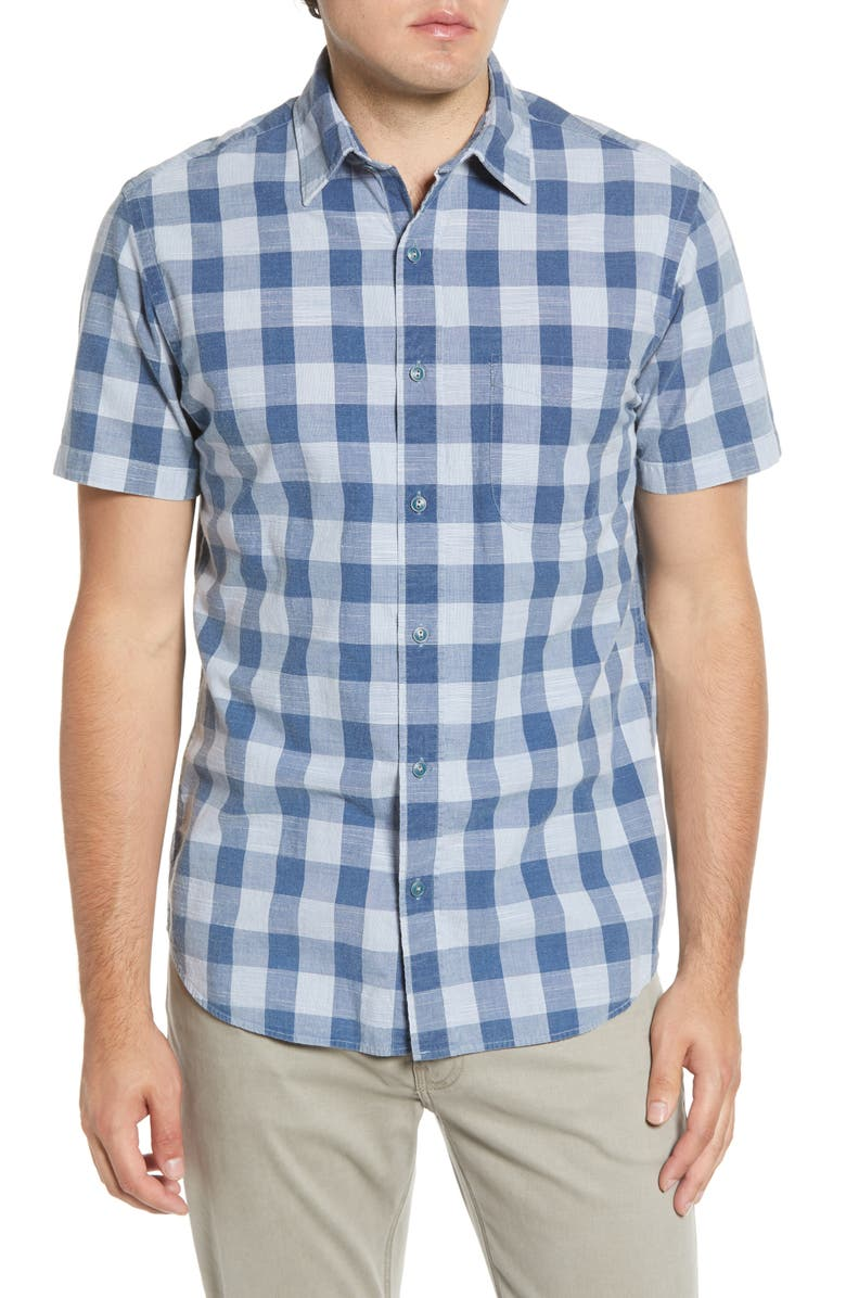 FAHERTY Ventura Regular Fit Check Short Sleeve Button-Up Sport Shirt, Main, color, WORKWEAR BUFFALO BLUE