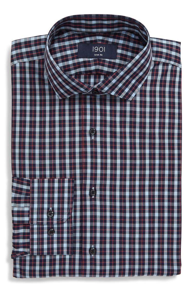 1901 Trim Fit Dot Dress Shirt, Main, color, RED RIBBON
