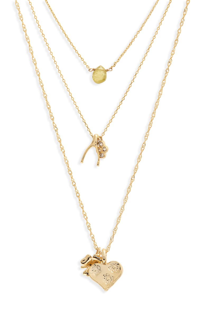 SEREFINA Set of 3 Charm Necklaces, Main, color, GOLD