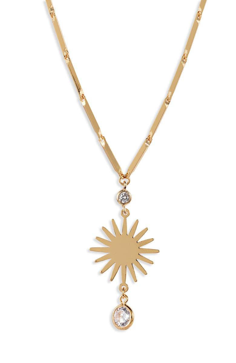 ETTIKA Starburst Pendant Necklace, Main, color, GOLD