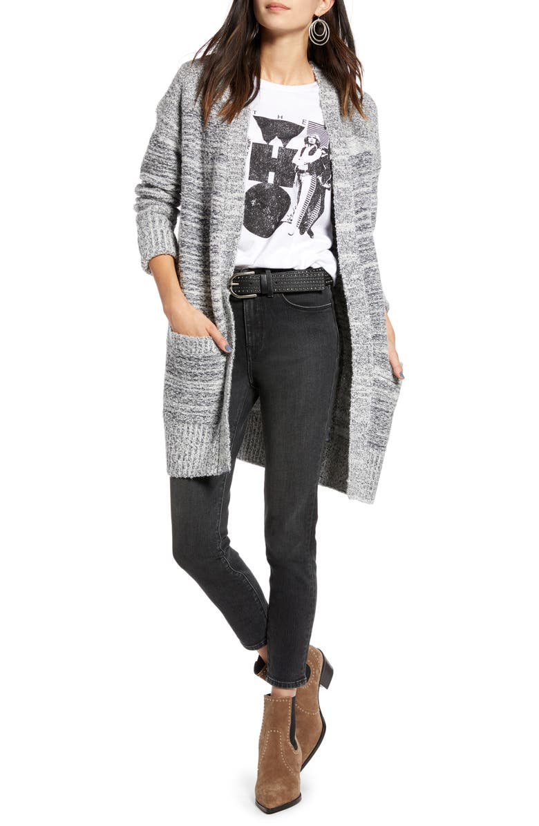 TREASURE & BOND Thow-On Cardigan, Main, color, NAVY- WHITE MARL COMBO
