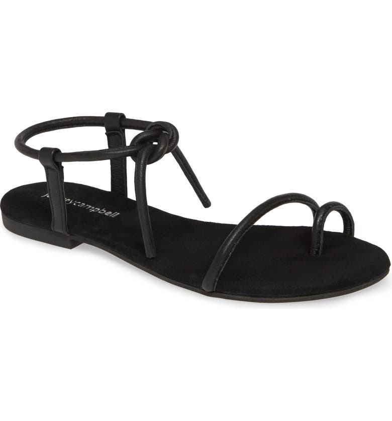 JEFFREY CAMPBELL Aster Tie Sandal, Main, color, BLACK LEATHER