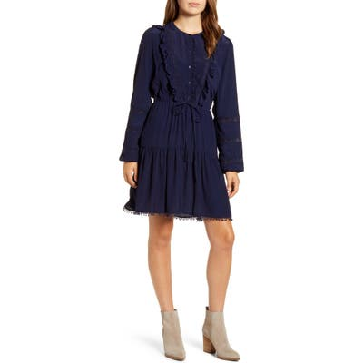 Lucky Brand Lace Detail Long Sleeve Crepe Dress, Blue